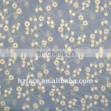 Latest hand embroidered net fabric with cotton yarn