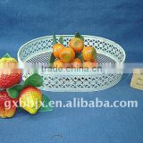 Creamywhite egg shaped storage fruit basket wire craft home decor