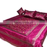 Indian Embroidered Silk Bedspread Bed Sheet with Pillow Covers