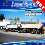 Double trailer truck bodys interlinked by fifth wheel paramount tipping 2 axles dump linking semi trailer