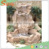 2016 New four steps outdoor natural stone artificial rock waterfall ,