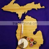 FDA&LFGB, new design with country shape of bamboo cutting board