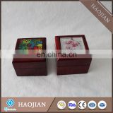 wooden ring box rosewood jewelry box with a glass tile for sublimation