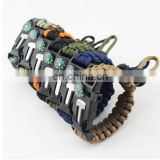 Outdoor Adjustable Paracord Flint Fire Starter Scraper Whistle Compass Survival Kits Paracord Survival Bracelet
