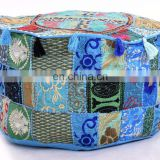 Round Pouf Cover Traditional Indian Latest Patchwork Embroidery Design Turquoise Color Ottoman Cover