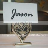 Silver Heart Wedding Favor Place Card Holder