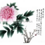 Top queen peony fabric painting house decor fabric painting