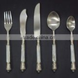 5 Pcs brass shell decoration cutlery set, novelty cutlery set, elegant cutlery set, fancy cutlery set, Catering supplies