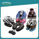 Toprank Custom Design Printed Travel Comfort Sleeping Kit Neck Support U Shape Short Plush Pillow With Rogn Eyemask
