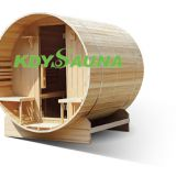 Hot outdoor barrel wooden wet steam sauna room house
