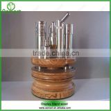 Newest luxurious wooden display stand OEM round Ecig wooden display stand for electronic cigarette