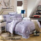 Hotel 100% Cotton White Customized Embroidery Boader Bedding Set