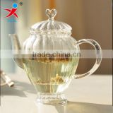 Japan's export glass flower pot coffee pot - high temperature resistant glass pot - European lace control English afternoon tea