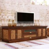 Sideboard tv QATAR with waterhyacinth frame door teak wood furniture