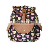 Wholesale canvas Korea owl printing school backpack