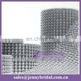WR001A wedding table skirt decoration, mesh silver diamond ribbon wrap