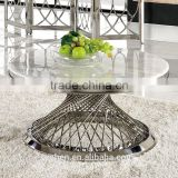 European high gloss face round stainless steel tube coffee table set with marble top B1071