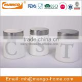 White Kitchen Metal Tea Coffee Sugar Canister Set
