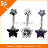 Charming Double Gems with Star Zircon Belly Button Rings Fashion Stainless Steel Navel Piercing Body Jewelry