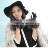 Leather gloves fox fur cuff gloves ,lady's winter dress gloves for party