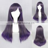 wholesale 65CM funny medium straight purple ombre colors women Lolita costume synthetic hair wig