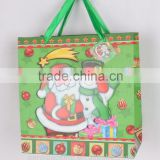 4 colors 3D glitter 210gsm Ivory paper Christmas paper bag with satin ribbon handle