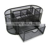 School Supply Desktop Organizer Caddy with Drawer /Space Saving Black Metal Wire Mesh 8 Compartment Office