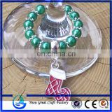 Unique CHRISTMAS Red Green & Silver Glass Pearl Silver Snowflake Wine Glass Charms