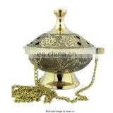 EMBOSSED BRASS CHARCOAL BURNER HANGING