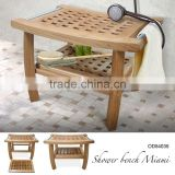 Shower Bench Solid Teak Wood Natural Color Model Miami