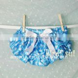 Baby Blue White Polka Dots Satin Ruffles Bloomers Panties BSM8