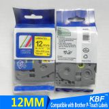 12mm tze-631 compatible brother laminated tape black on yellow thermal transfer ribbon