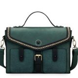 Vintage Contrast Color Ladies Briefcase and Satchel Handbag