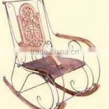 Wood carved antique metal Rocking chair