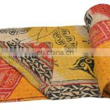 Multi color Kantha Quilt Plaids Gudri Reversible Throw Ralli Quilted Indian Handmade old vintage kantha quilt Bedspread Decor
