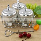 luxury Stainless steel seasoning box condiment jar three flavour combination suit BH-SLT023
