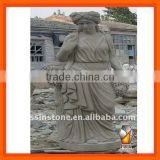 Hand carved white marble women statues