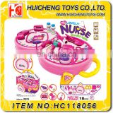 Lovely 2 in 1B/O pink kids doctor tool toy set Eco-friendly 18PCS ABS plastic doctor table play set EN71EN62115 ASTM