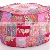 Indian 2017 Round Pouf Cover Traditional Latest Patchwork Embroidery Design Turquoise Color Ottoman Cover