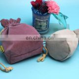 eco-friendly suede drawstring storage bag for power bank