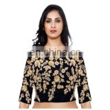 NAVY BLUE RAW SILK EMBROIDERED BOLLYWOOD BLOUSE FOR WOMEN