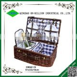 Outdoor woven wicker material picnic basket with cooler bag