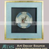 Gold Solid Wooden Frame Ceramic Plate Bird Pattern Shadow Box Wall Art