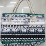 Fashion Lady popular cheap geometric pattern cotton canvas bag
