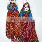 INDIAN RAJASTHANI PUPPET/FOLK DOLLS KATHPUTLI PAIR PRETTY HOME DECORATIVE PUPPET OLD CLOTH HAND MADE DOLL COUPLE HOME DECOR ART