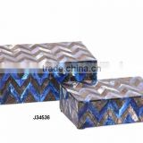 Two shade blue chevron pattern Bone Mosaic Wooden box match available in all sizes and colours