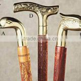 Wooden Walking Stick with Brass/Metal Handles