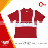 Red 160GSM Net Fabric Reflective Safety T shirt for Worker KF-039-T