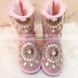 Aidocrystal Pink Warm Snow Boots Children Adult Fur Winter Girls snow boots with Rhinestone