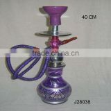 Purple Coloured Glass Hookah with metal stem with purple ceramic part